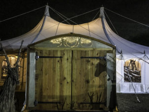 Canvas Marquee Venue With Timber Doors Entrance