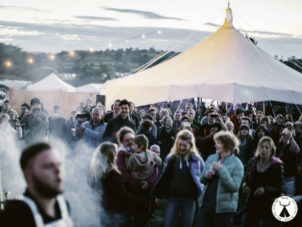 Festival Star Canvas Marquee with Crowds at Ymuno
